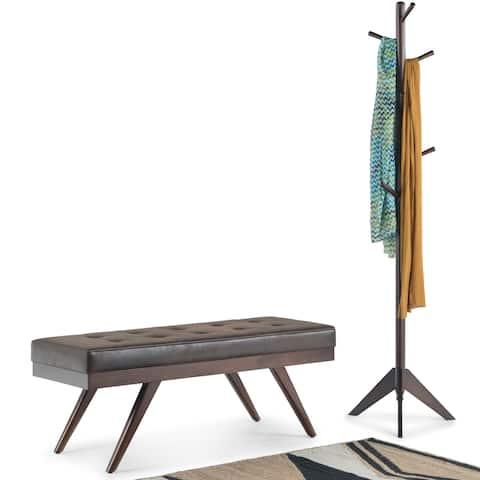 WYNDENHALL Keenan 48 inch Wide Mid Century Modern Ottoman Bench