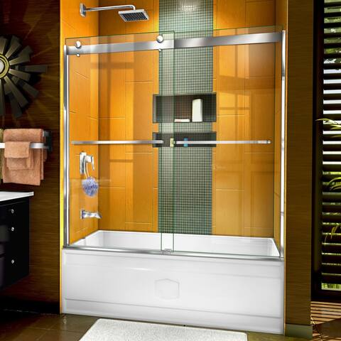 "DreamLine Sapphire 56-60 in. W x 60 in. H Semi-Frameless Bypass Tub Door - 56"" - 60"" W"