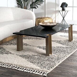 """nuLOOM Off White Moroccan Boho Chic Aztec Lined Shag Tassel Square Area Rug - 7' 10"""""""