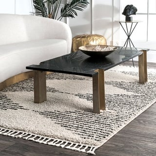 nuLoom Off-white Moroccan Boho Chic Aztec Lined Shag Tassel Square Area Rug - 7'10