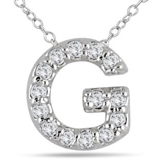 1 10 Carat TW G Initial Diamond Pendant In 10K White Gold