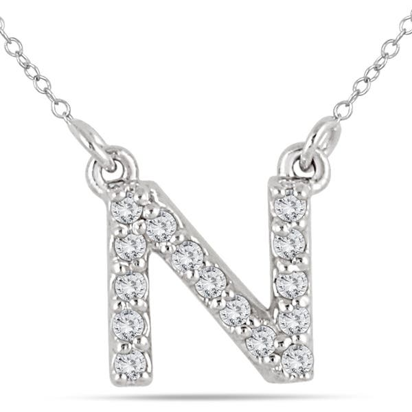 056a32d5f168b 1/10 Carat TW N Initial Diamond Pendant in 10K White Gold
