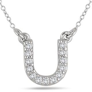 1 10 Carat TW U Initial Diamond Pendant In 10K White Gold