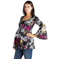 24/7 Comfort Apparel Bell Sleeve Maternity Tunic Top