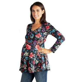 24/7 Comfort Apparel Long Sleeve Maternity Henley Tunic Top