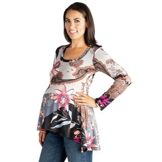24/7 Comfort Apparel Maternity Long Sleeve Hi Low Tunic Top
