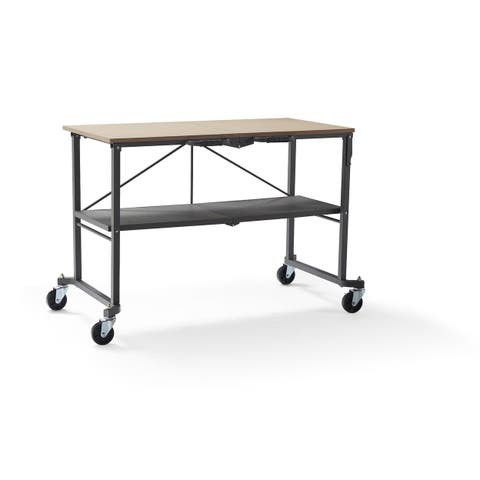 COSCO Smartfold Grey Utility Table / Workbench with Locking Casters