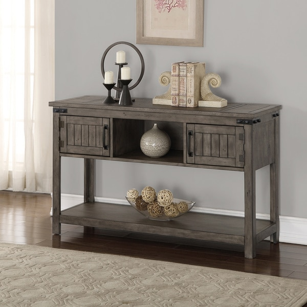 The Gray Barn Raven Gulch Distressed Smoked Grey Sofa Table