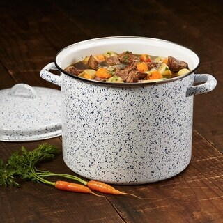 Paula Deen Enamel-on-Steel Covered Stockpot, 12-Quart, Seaspray White Speckle