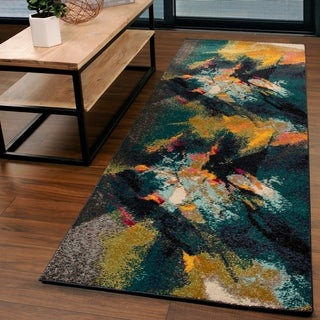 "Miranda Haus Designer Caspian Multi-Color Runner Rug - 2'6"" x 8'"