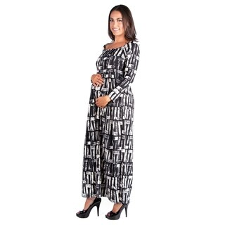 24/7 Comfort Apparel Black and White Long Sleeve Maternity Maxi Dress