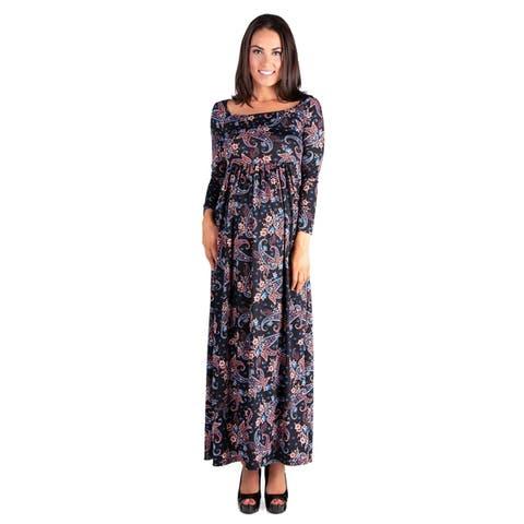 24/7 Comfort Apparel Empire Waist Long Sleeve Maternity Maxi Dress
