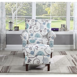 Floral Print Accent Chair with Ottoman