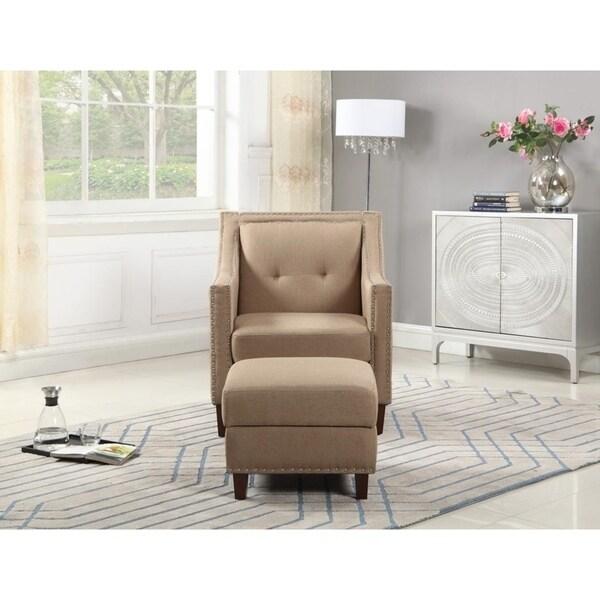Accent Chair with Storage Ottoman, Beige