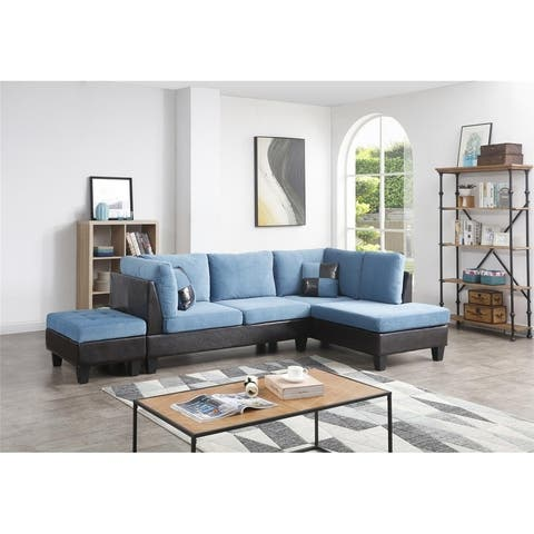 Bonded Leather and Champion Sectional Set, Blue