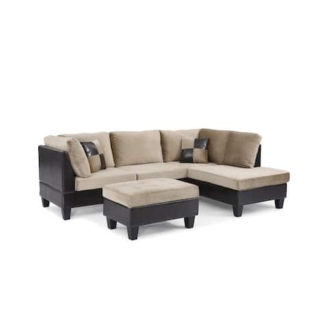 Bonded Leather and Champion Sectional Set with Ottoman, Brown