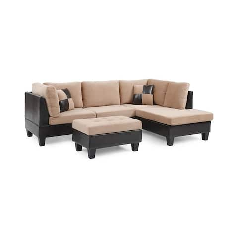 Bonded Leather and Champion Sectional Set, Tan