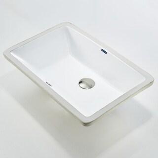 KDK B01 Rectangular White Ceramic Undermount Lavatory Bathroom Sink
