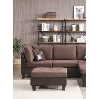 Bonded Leather and Champion Ottoman, Chocolate