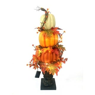 32In Harvest Stacked Pumpkin Urn With Lights