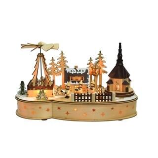 Wooden Village Figures Led Music Box