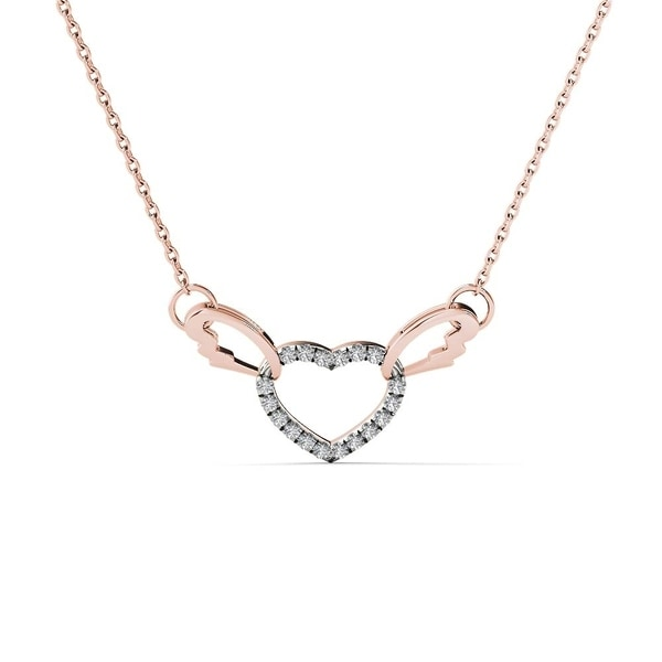235b1e378ba97f AALILLY 10k Rose Gold Diamond Accent Interlocking Heart with Wings Necklace  (H-I, I1-