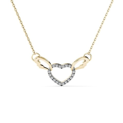 AALILLY 10k Yellow Gold Diamond Accent Interlocking Heart with Wings Necklace (H-I, I1-I2)