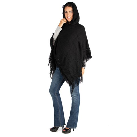 24/7 Comfort Apparel Maternity Hooded Poncho Sweater