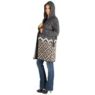 24/7 Comfort Apparel Cozy Maternity Hooded Long Cardigan