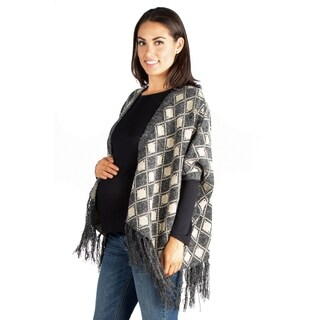 24/7 Comfort Apparel Open Front Maternity Poncho Sweater