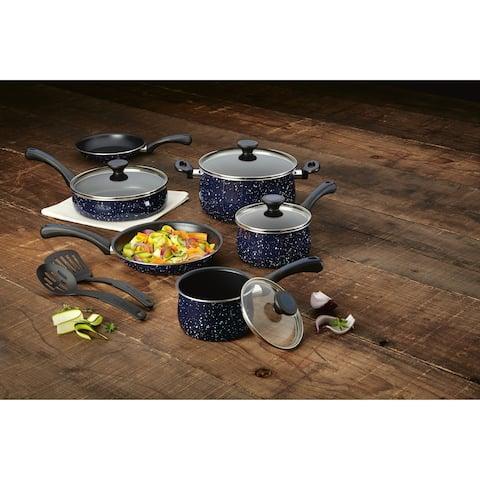 Paula Deen Aluminum 12-Piece Nonstick Cookware Set, Deep Blue Speckle