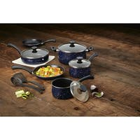 Paula Deen Aluminum 12-Piece Nonstick Cookware Set, Deep Blue Speckle