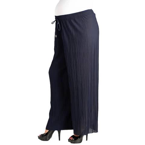 24/7 Comfort Apparel Pleated Wide Leg Drawstring Maternity Pants