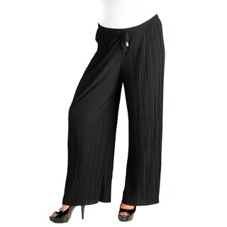24/7 Comfort Apparel Pleated Wide Leg Drawstring Maternity Pants