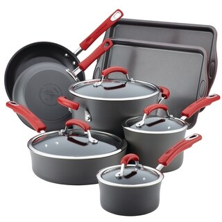 Rachael Ray HA 12pc Nonstick Cookware Set, Gray with Red Handles
