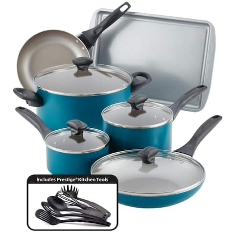 Farberware Dishwasher Safe 15-Piece Nonstick Cookware Set, Teal
