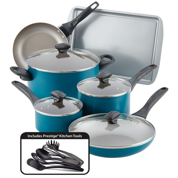 Farberware Dishwasher Safe 15-Piece Nonstick Cookware Set, Teal. Opens flyout.