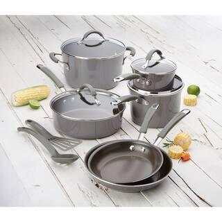 Rachael Ray Cucina 12-Piece Nonstick Cookware Set, Sea Salt Gray