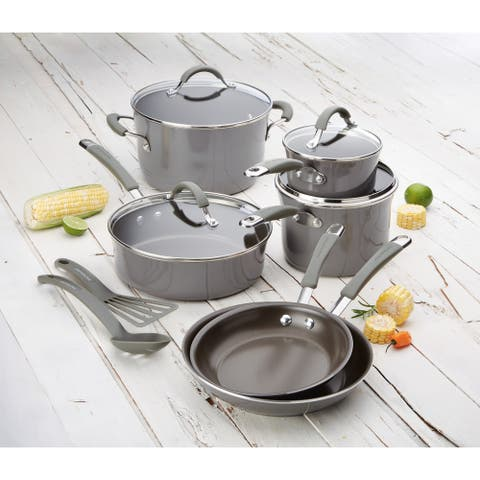 Rachael Ray Cucina 12-Piece Nonstick Cookware Set, Sea Salt Gray