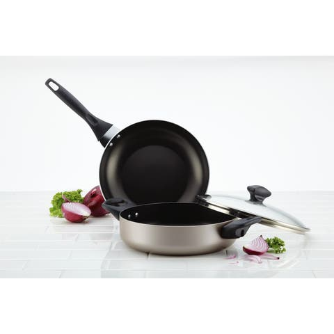Farberware Dishwasher Safe Nonstick 3-Piece Cookware Set, Champagne