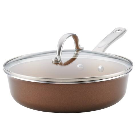 Ayesha Home Collection Porcelain Enamel 3-Quart Nonstick Covered Saute Pan