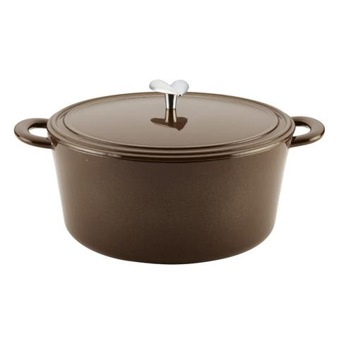 Ayesha Collection Cast Iron Enamel Covered Dutch Oven, 6-Quart, Brown Sugar