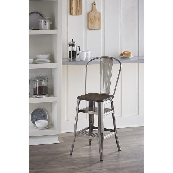 Awesome Shop Cosco Luxor Metal 24 Inch Counter Stool With Steps Machost Co Dining Chair Design Ideas Machostcouk