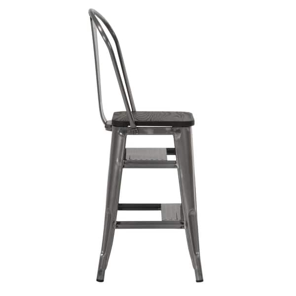 Stupendous Shop Cosco Luxor Metal 24 Inch Counter Stool With Steps Machost Co Dining Chair Design Ideas Machostcouk