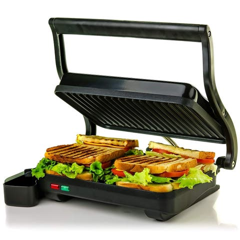 Ovente GP0620 2 Electric Panini Press Grill & Gourmet Sandwich Maker