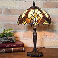 Copper Grove Carnach 16-inch high Stained Glass Table Lamp