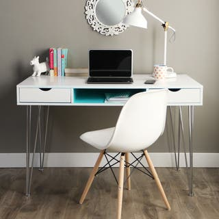 Taylor & Olive Hanover 48-inch Color Accent Writing Desk - Aqua Blue