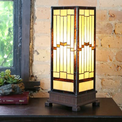 """The Curated Nomad Wexler Stained-glass Rustic 17-inch Hurricane Lamp - 6.75""""L x 6.75""""W x 17.25""""H"""