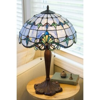 Gracewood Hollow Marouane 24-inch Stained Glass Amber Table Lamp