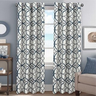 PrimeBeau Geometric Pattern Blackout Curtain Pair 2-Pack